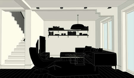 engeneering: Line drawing of the interior on a white and black background