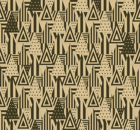 consist: Triangular seamless pattern on beige background. Triangles consist of different forms.
