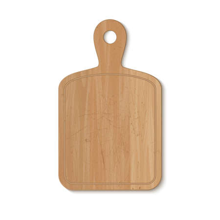 Wooden cutting board on white background. Vector illustration.
