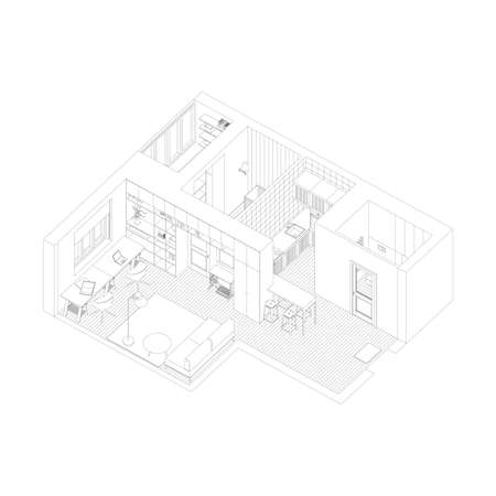 Line drawing of the isometric interior of apartment.
