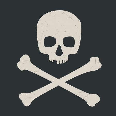 Skull and crossbones on dark background. Vector illustration symbol of danger. Иллюстрация