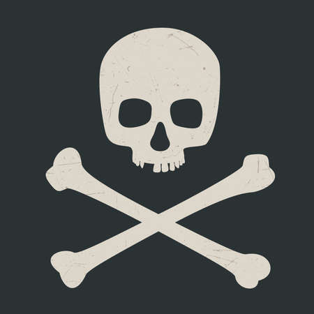 Skull and crossbones on dark background. Vector illustration symbol of danger. Illustration