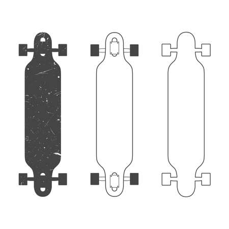 longboard: Longboard silhouettes and line drawings. Isolated on white.
