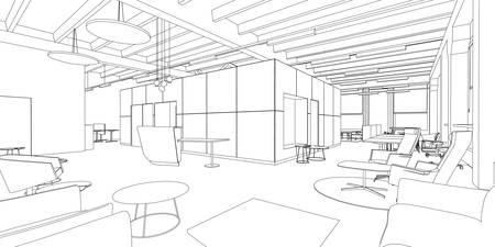 oficina: Esquema esbozo de un espacio interior de la oficina.