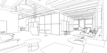 Outline sketch of a interior office space. Stock Illustratie
