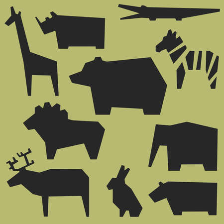 animal silhouette: Zoo background with geometric silhouettes of animals.