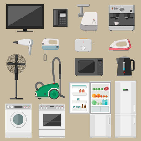household objects equipment: Home household appliance set with icons microwave, coffee machine, washing machine etc..