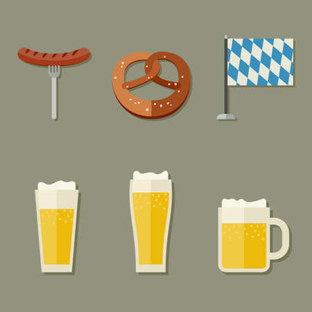 beer fest: Beer icons set with pretzel and sausage.