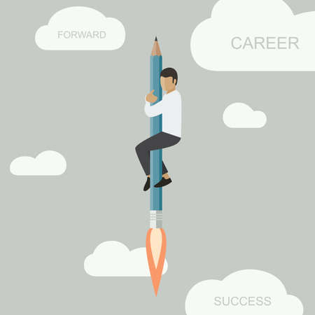 career up: Career background with a man flying up on a rocket-pencil
