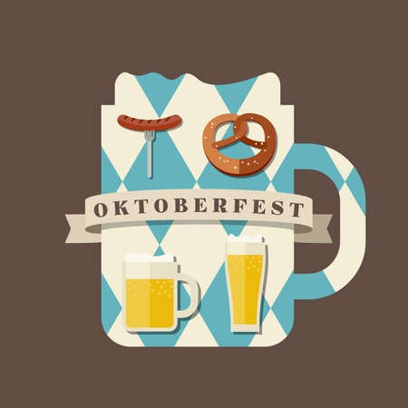 party invitation: Oktoberfest logo concept. Silhouette mugs of beer in the colors of the Bavarian flag icons with traditional snacks for beer. Illustration
