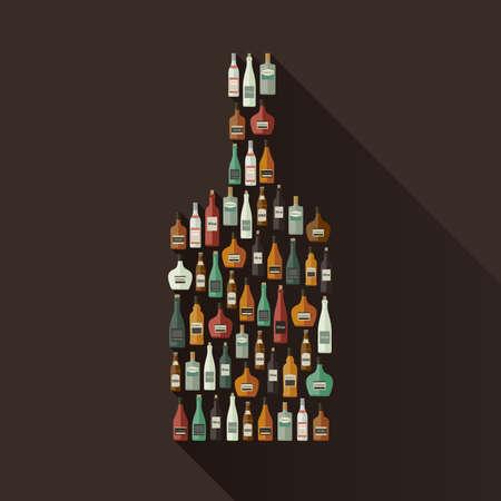 cocktail bar: Icons set of alcoholic beverages in bottle shape. Vector flat illustration