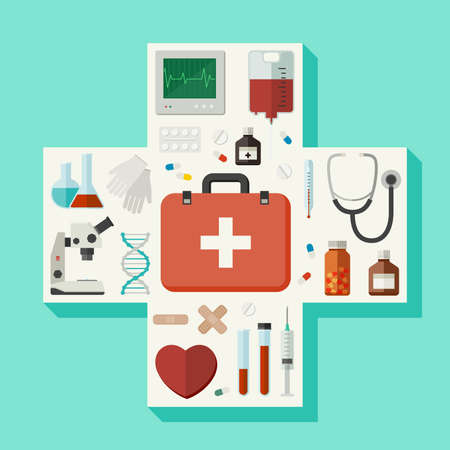 cross shape: Medical flat icons located in a cross shape. Vector illustration Illustration