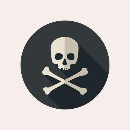 calavera pirata: Calavera y tibias cruzadas icono en el fondo redondo oscuro. Vector ilustración plana Vectores