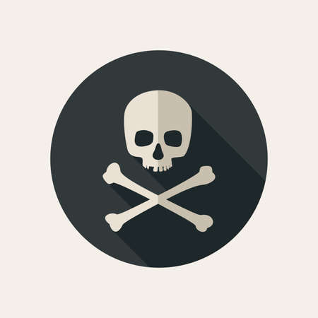 life and death: Skull and crossbones icon on round dark background. Vector flat illustration