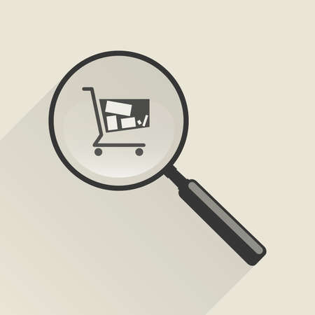 customer sign: Magnifier icon and shopping trolley in flat style.