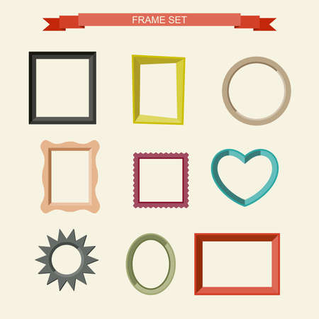 Set of different frames in flat style. Vector illustration Vettoriali