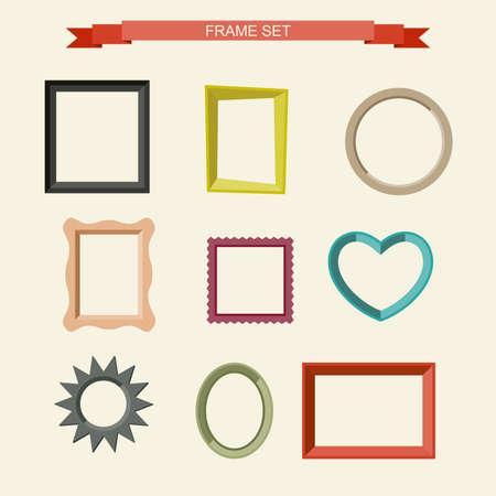 Set van verschillende frames in vlakke stijl. vector illustratie