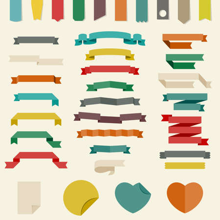 bookmark ribbon: Vector set of different ribbons and other design elements in flat style.