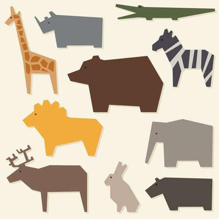 hipopotamo caricatura: Zoo de fondo con los animales geométricos. Ilustración vectorial