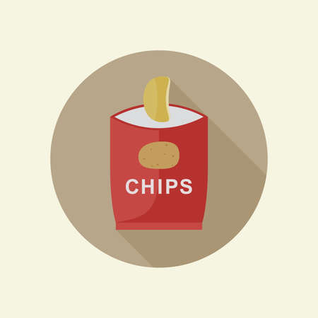 a bag: Potato chips icon with long shadow in flat style. Illustration