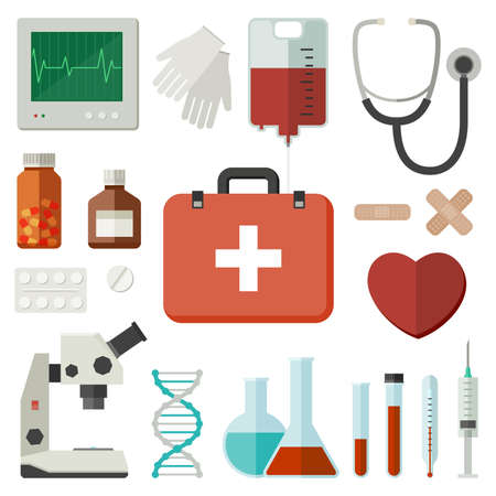 Icons of medical instruments and medicaments in flat style. Vector flat illustration Illusztráció