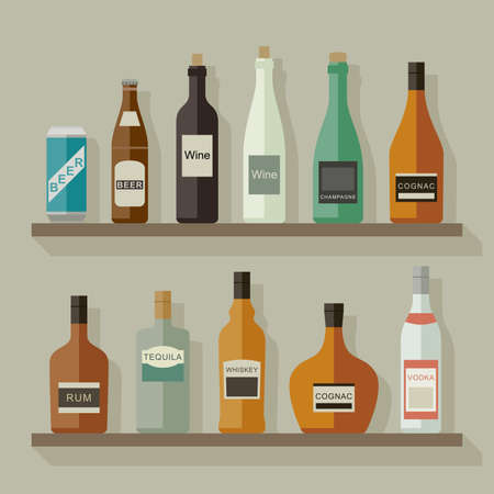 whisky bottle: Icons of alcoholic beverages on the shelves in flat style. Vector flat illustration