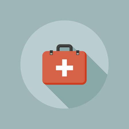 medical box: Medical box flat icon with white cross emblem. Vector illustration Illustration