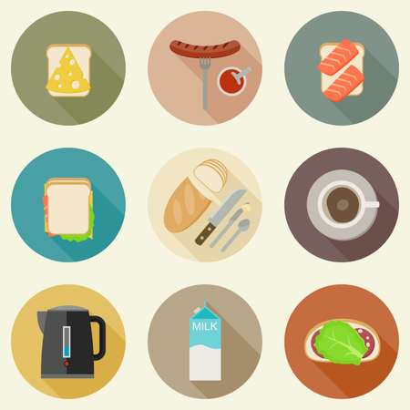 food and drinks: Set of breakfast food and hot drinks on round buttons