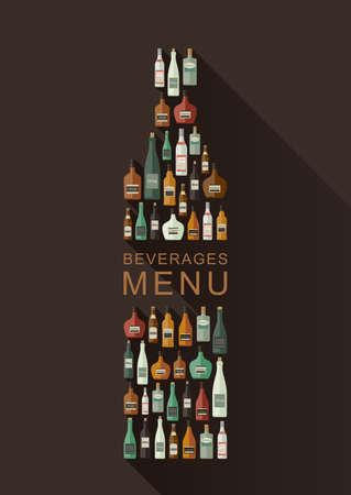 alcoholic beverages: Alcoholic beverages menu. Bottles of alcoholic beverages in bottle shape. Vector flat illustration