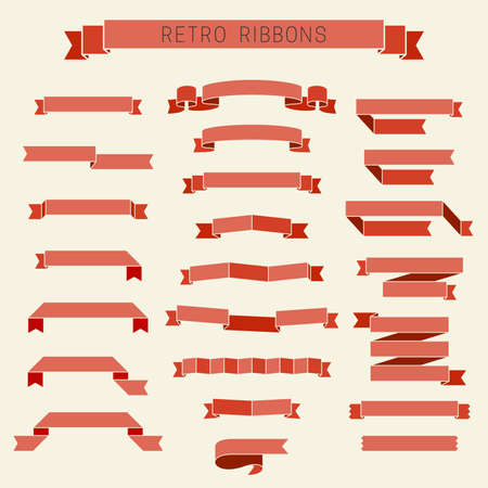 vintage border: Set of different red retro ribbons in flat style.