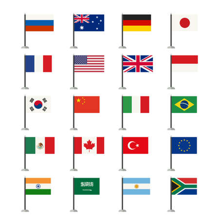 Flags icons set. Simple vector flags icons of the countries in flat style.  イラスト・ベクター素材