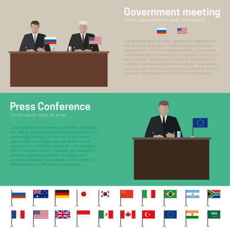 rueda de prensa: Pol�tica Mundial y banners conferencia de prensa con banderas simples iconos de los pa�ses de estilo plano.