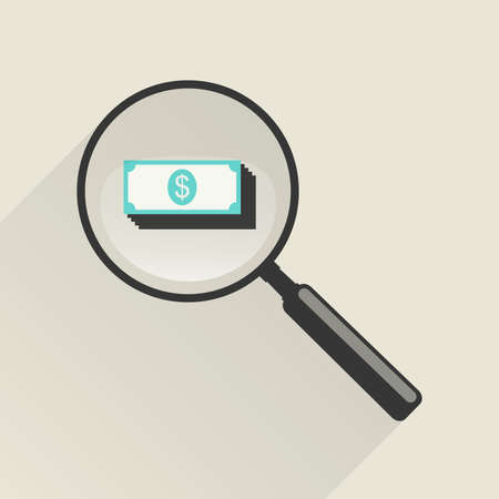 cash: Magnifier icon with money in flat style. Vector illustration Illustration