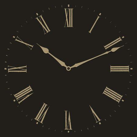 romana: Ilustración vectorial de reloj sobre fondo negro. Marque con números romanos. Vectores