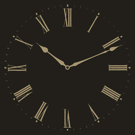 Clock vector illustration on black background. Dial with Roman numerals.