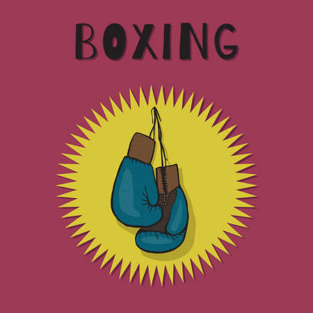 glove: Boxing gloves blue color. Boxing vector emblem.