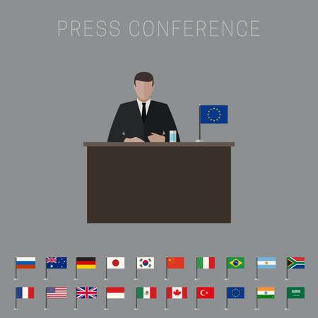 rueda de prensa: Presione bandera conferencia de vectores con banderas simples iconos de los pa�ses de estilo plano. Vectores