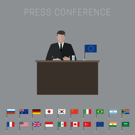 press conference: Press conference vector banner with simple flags icons of the countries in flat style.