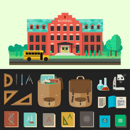 cartoon graduation: School building vector illustration with school bus and education icons in flat style.
