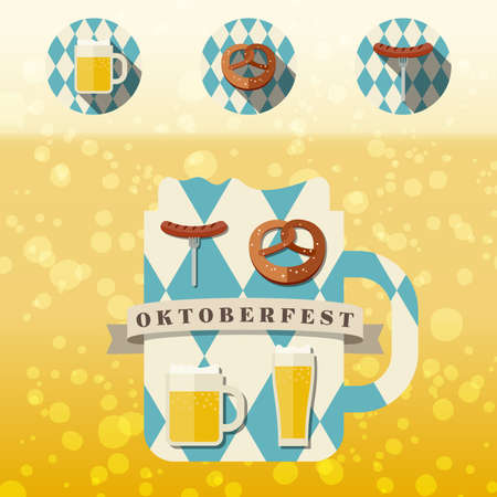 beer fest: Oktoberfest logo concept. Silhouette mugs of beer in the colors of the Bavarian flag icons with traditional snacks for beer. Illustration