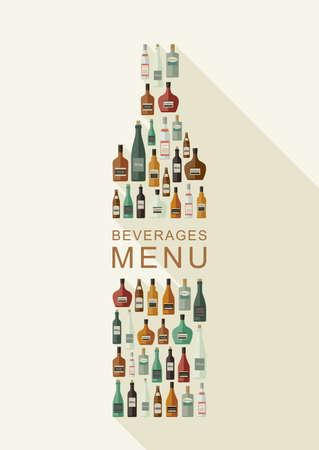 bebidas alcohÓlicas: Menú de bebidas. Botellas de bebidas alcohólicas en forma de la botella. Vector ilustración plana
