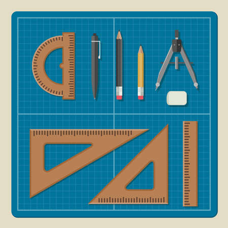 professional equipment: Blueprint with professional drawing equipment in flat style. Architectural desktop.