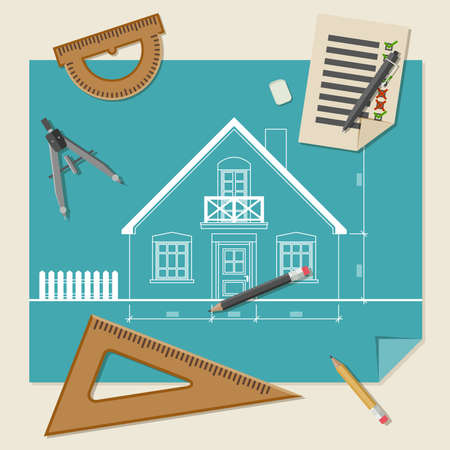 drafting tools: Simple vector illustration of blueprints with professional drawing equipment. Illustration