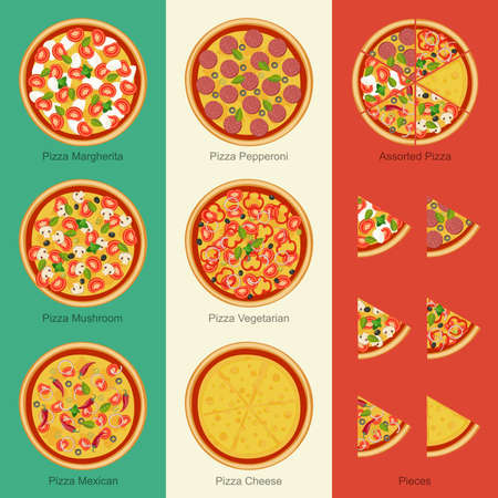 pizza ingredients: Pizza on the background Italian flag. Set of pizzas with different ingredients Illustration