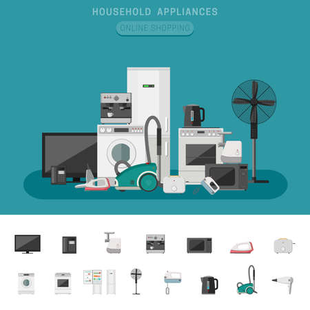 refrigerator with food: Household appliance banner with vector flat icons microwave, coffee machine, washing machine, etc. Illustration