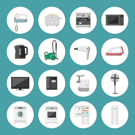 household objects equipment: Home household appliances vector icons in flat style.