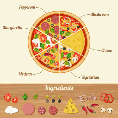 Assorted pizza cut into pieces and ingredients icons for pizza.