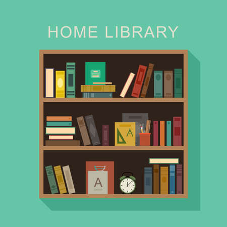 library shelf: Home library flat illustration. Wooden shelf with books, alarm clock and cup with pencils. Illustration