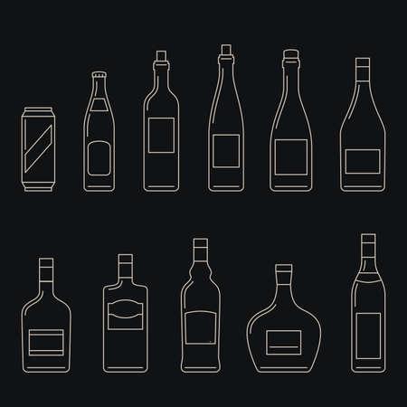 bebidas alcohÓlicas: Botellas de bebidas alcohólicas iconos de la forma.