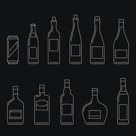 range fruit: Bottles of alcoholic beverages thin line icons.